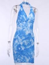 Backless Halter Neck Tie Dye Short Summer Dresses