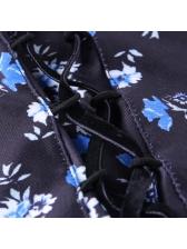 Summer Flower Print Lace-Up Short Sleeve Dress
