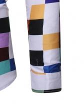 Turndown Collar Long Sleeve Multicolored Plaid Shirt