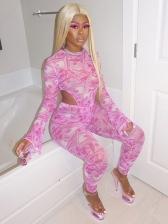Dollar Print Long Sleeve Bodysuit Two Piece Pants Set
