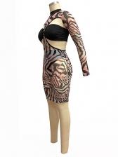 See Through Animal Printed Two Piece Dress Set
