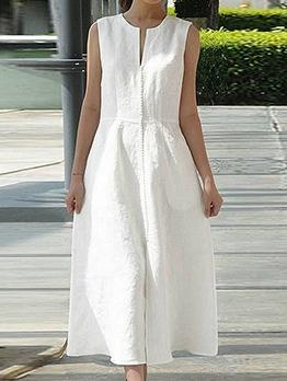 Casual Pure Color Sleeveless Maxi Dress