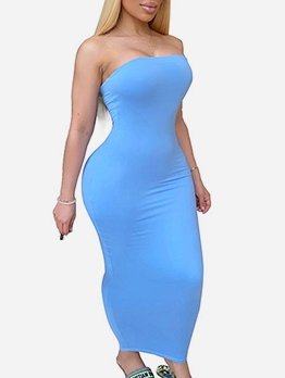 Casual Solid Plus Size Strapless Maxi Dresses