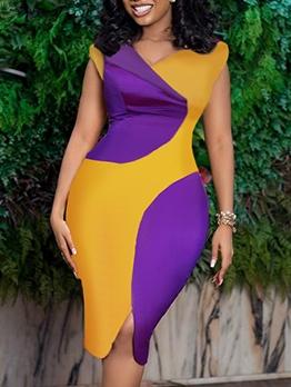 V Neck Color Block Slit Summer Dresses