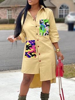 Camouflage Pockets Irregular Hem Midi Dress