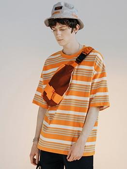 Short Sleeve Loose Striped T Shirt