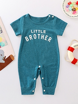 Letter Short Sleeve Summer Romper For Baby