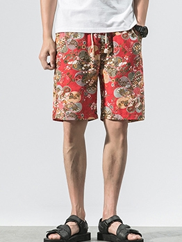 Beach Drawstring Mens Floral Half Pants