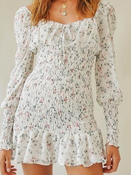 Retro Square Neck Long Sleeve Floral Dress