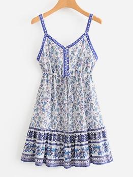 Ditsy Printed Slip One Piece Dress
