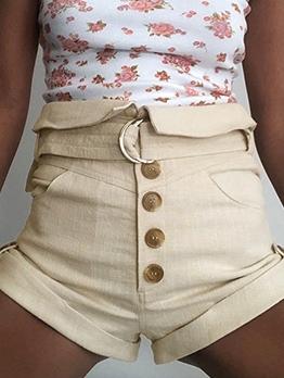 Button Fly Pure Color Tie-Wrap Summer Short Pants