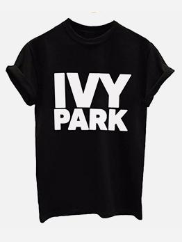 Crew Neck Letter Short Sleeve T-shirts For Women