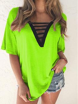 Summer Loose Short Sleeve V Neck T Shirts