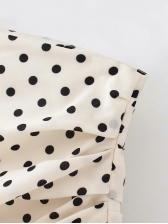 Ruffled Detail Polka Dot High Waist Skirt For Women