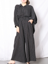 Summer Loose Striped Boutique Two Piece Pants Set