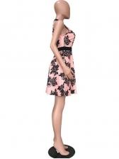 Gauze Panel Printed Short Sleeveless Dress