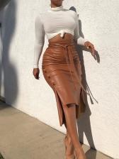 Solid Solid Split Women Summer Skirts