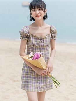 Retro Plaid Square Neck Short Sleeve Dress