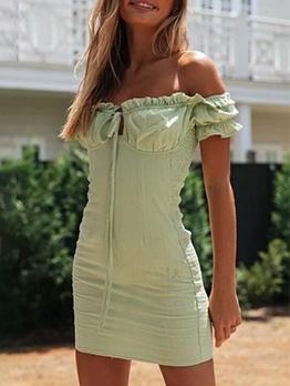 Summer Off Shoulder Stringy Selvedge Green Dress