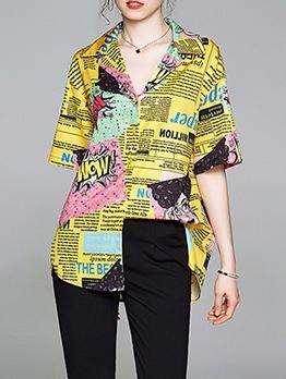 Fashion Newspaper Print Loose Ladies Shirt