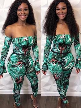 Summer Green Printed Skinny Off The Shoulder Jumpsuit