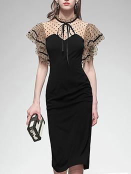Graceful Gauze Dots Patchwork Ladies Dress