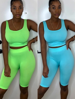Casual Bright Color U Neck Bodycon Tracksuit Set