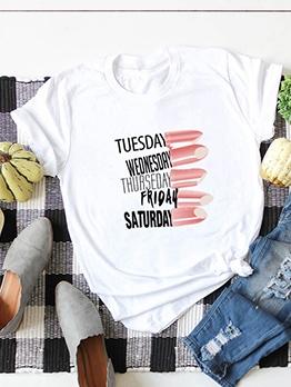 Lipstick Pattern Letter Short Sleeve Oversized T Shirt