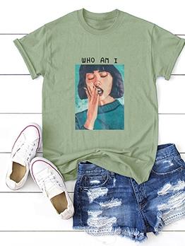 Trendy Printing Round Collar Oversized T Shirt