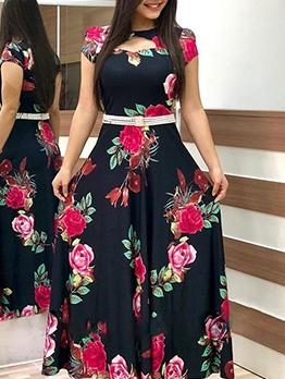 Hollow Out Flower Print Short Sleeve Maxi Dress