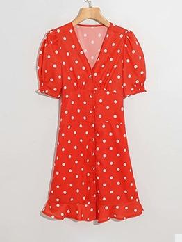 Single Breasted Polka Dot V Neck Red Short Dresses