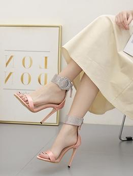 Rhinestone Patchwork Round Toe Designer Sandals