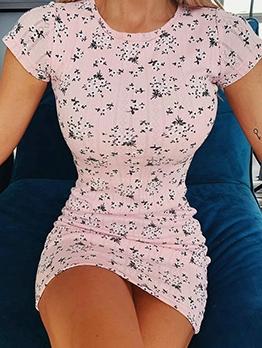 Crew Neck Short Sleeve Floral Short Dress