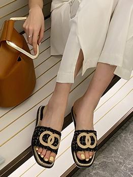 Fashion Contrast Color Beach Flat Shoe