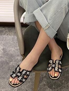Faux Pearl Decor Round Toe Womens Flats