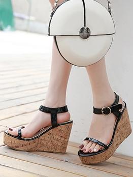 High Platform Ankle Strap Wedge Sandals