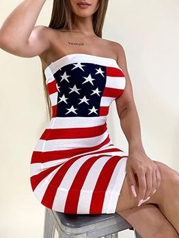 American Flag Print Strapless Dress