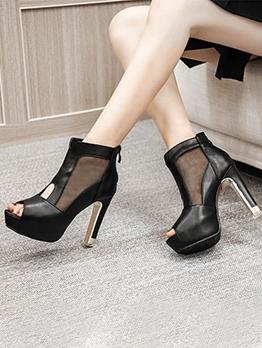 Gauze Peep Toe Platform Ankle Boots