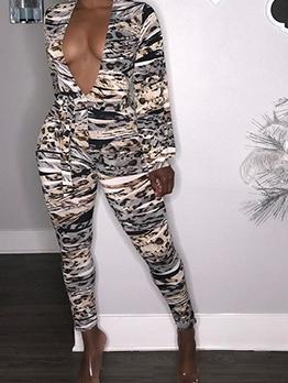 Deep V Neck Long Sleeve Animal Print Jumpsuit