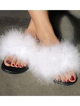 Faux Fur Slip On Fuzzy Slippers