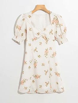 Puff Sleeve Flower Printed Back Zipper Summer Dresses