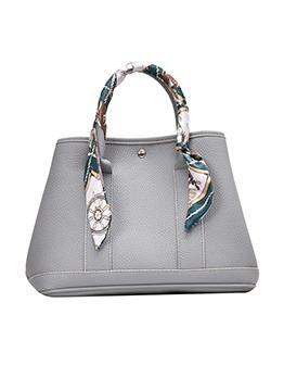 Silk Scarf Decorated Large Capacity Ladies Handbags