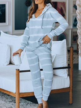 Contrast Color Striped Loungewear 2 Piece Outfits