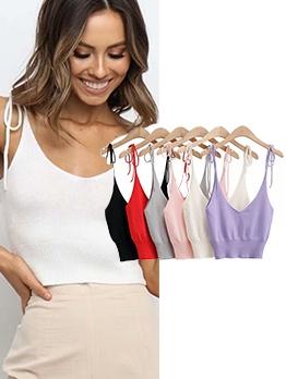 Tie Wrap Strap V Neck Crop Camisole