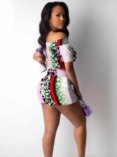 Mixed Color Leopard Print Off Shoulder Two Piece Shorts Set