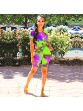 Short Sleeve Fitted Tie Dye Two Piece Set