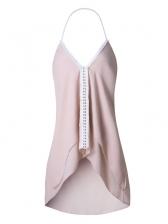 High-Low Patchwork V Neck Halter Dress