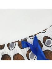 Coconut Print Crop Top And Shorts Set