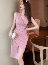 Glitter v Neck Solid Slit Sleeveless Dress