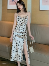 Sexy Moon Printed Slip Backless Midi Dress
